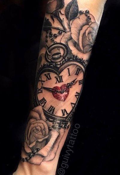 Guivy - Art For Sinners (Geneva - Geneve) #clocttattoo #watchtattoo #realism #tattoosleeve #clock #watch #horloge #montre #swisswatch #diamond #girly #rose #roses