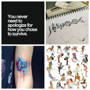 """My #megandreamtattoo """"Never apologize for how you chose to survive"""" Colorful music notes and symbols...like its in my dna. In my blood. Pinup singer"""
