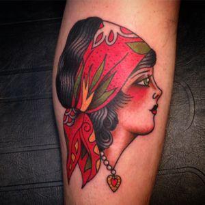 #tattoo #traditionaltattoo #traditional #gypsygirl #gypsywoman #oldschool #owenjensen