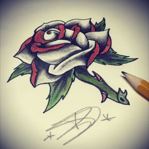 Another sketch from last week...#moblieinkstitution #hannover #sketch #tattoosketch #tattoo #oldschool #rose #white #red #love #flower #follow4follow