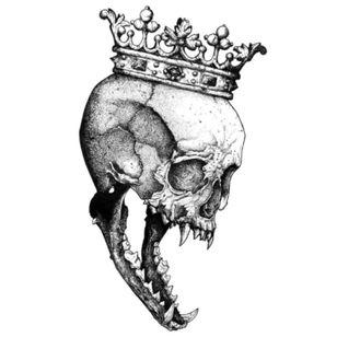 Gorgeous crowned skull animal hybrid tattoo design #skull #animal #crown