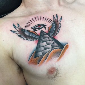 Conspiracy #pyramid #eyeofhorus #colortattoos #colortattoo #Tattoodo #bright_and_bold #brightcolours