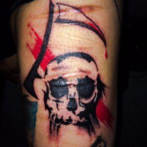 Over scars tattoo. #skull #paintstroke #scythe #selfmade #selfharm #scarscoverup