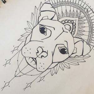 Ediwna the #pitbull in a #tattoodesign for a #pitbulltattoo #tattooidea #fineline #linework #outline #dogtattoo #dog #dotwork