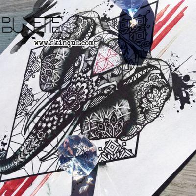 For downloads and commission visit Www.skinque.com Mandala pattern elephant in trash polka style #elephant #elephanttattoo #trashpolka #trashpolkatattoo #trash #animal #animaltattoo #animals #mandala #mandalatattoo #mandalastyle #mandalatattooart #mandalaart #pattern #patternwork #geometric #geometry #geometrictattoo