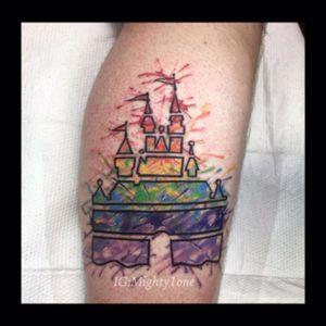 #watercolor #watercolortattoo #disneytattoo #disneycastle #tattoopride #pride #rainbowtattoo #rainbow #blacklinetattoo #redink #orangeink #yellowink #greenink #blueink #navyink #purpleink