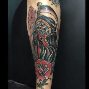 Shin reaper. #tattooapprentice #anthonylowtattoos #reaper #rose #traditionaltattoo