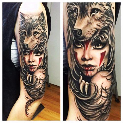 #ryanashleymalarky #portrait #woman #indian #warrior #animal #wolf