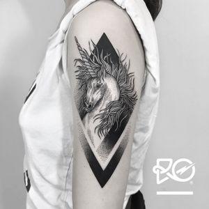By RO. Robert Pavez • Sweet Unicorn • Done in Studio Les Fleurs du mal - Paris - 🇫🇷 2017 #engraving #dotwork #etching #dot #linework #geometric #ro #blackwork #blackworktattoo #blackandgrey #black #tattoo #fineline #unicorntattoo