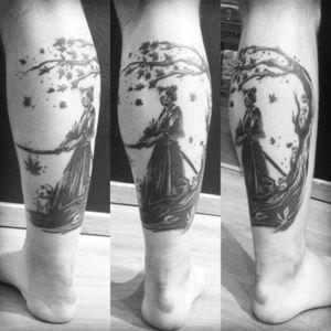 #samurai #blackwork #samourai tattoo done by LAN at La verite est ailleurs #bordeaux