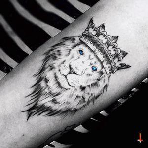 Nº102 Crowned Lion #tattoo #lion #crown #lionking #king #blueeyes #blue #blueink #bylazlodasilva