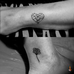 Nº119-120 #tattoo #geometric #heart #lines #geometry #rose #littletattoo #bylazlodasilva