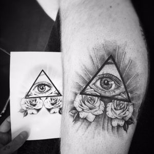 #illuminati #triangle #roses #eye #tattoo #tattootime #tattoodesign #tattooartist #BlackAndGrey #inktime #tattoos #tattooed #tattooart #tattooing #tattooink #tattoolife #tattoowork #tattoolove