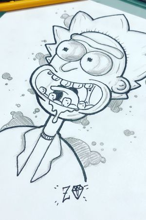 """Rick"" new school tattoo design. Up for grabs!"
