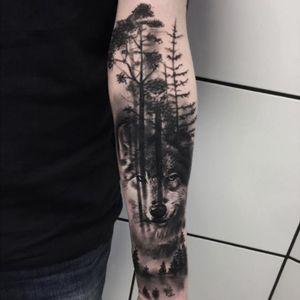 #Wolf #Realism #BlackandGrey #nature #Forest #lobo