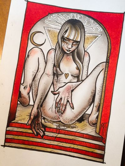 Another lil painting from this series -this has been tattooed on a sweet girl last year_ more are coming #mrg#morg#morgarmeni#poiselinetattoobalm#erotic#sexy#girl #woman