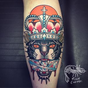#panther #oldschool #oldschooltattoo #traditional #traditionaltattoo #king #crown #diamond #riquecorner