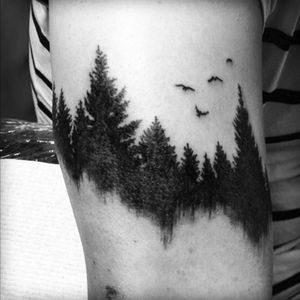Different angle. #naturetattoo #trees #birds #shading #forest #reflection #upperarm