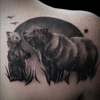 Tattoo by Lance Levine. See more of Lance's work here: https://www.larktattoo.com/long-island-team-homepage/lance-levine/ #realistictattoo #bngink #bnginksociety #bngsociety #bng #blackandgraytattoo #blackandgreytattoo #realism #tattoo #tattoos #tat #tats #tatts #tatted #tattedup #tattoist #tattooed #tattoooftheday #inked #inkedup #ink #amazingink #bodyart #tattooig #tattoosofinstagram #instatats #larktattoo #larktattoos #larktattoowestbury #westbury #longisland #NY #NewYork #usa #art #beartattoo #bear #animaltattoo #animals #animal nature