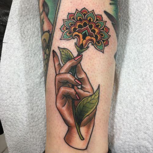 Super fun hand and ornamental flower!