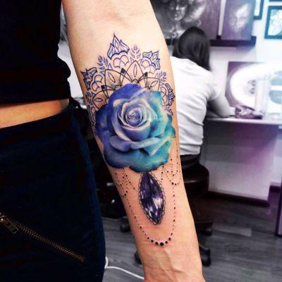 #annayershova#blue#flower#rose#jewel#mandala
