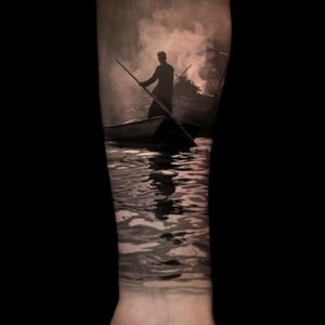 #tattoo #realistic #forearm #forearmtatto #manonsea #water #clouds