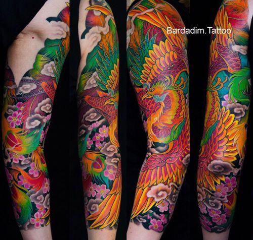 Japanese tattoo. Japanese sleeve. #phoenix #tattoo #japanese #japanesetattoo #japanesesleeve #bardadim