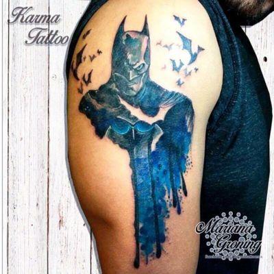 Watercolor batman tattoo, tatuaje de batman con acuarela #tattoo #watercolor #tattoodo #marianagroning #tatuaje #ink #inked #tattooed #colortattoo #acuarela #mexico #cdmx #MexicoCity #mexicoink #karmatattoo #batman #batmantattoo #dccomics