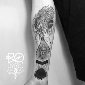 By RO. Robert Pavez • Black Child on fire • #engraving #dotwork #etching #dot #linework #geometric #ro #blackwork #blackworktattoo #blackandgrey #black #tattoo #child