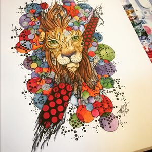 """""""Hidden Strength"""" #AbstractWatercolor #abstract #watercolorart #geometricwatercolor #staugustinetattooartist #lion"""
