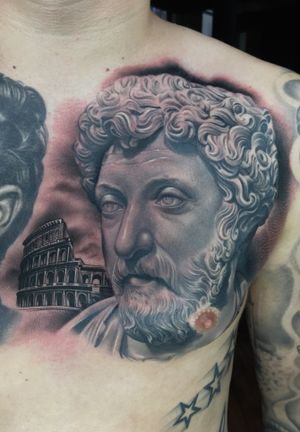 Healed Marcus Arelius statue, fresh coliseum, background and white highlights.