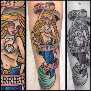 #mermaid #neotraditional #neotrad #nautical #underwater #banner #colour #girl #shell