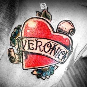 Tat No.16 Veronica's Heart 💘 #tattoo #heart #oldschool #bylazlodasilva