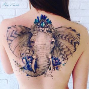 Royal 🐘 by Pissaro Tattoo, Instagram @pissaro_tattoo #watercolor #elephant #watercolorelephant #backpiece #elephantbackpiece #colors