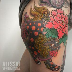 Karashishi no botan @inksuper @delight_tattoo_needles #delightneedles #wabori #traditional #tattoo #picoftheday #art #awesome #karashishi #foodog #japan #japanesetattoo #ink #inked #irezumism #instalike #instagood #irezumi #irezumicollective #horimono #peonies #reclaimthedots #frontedelporto #tattoodo #tattoodoapp