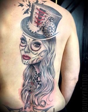 Guivy Hellcat / GENEVA 🇨🇭#guivy #tattoo #geneve #geneva #switzerland #catrina #santamuerte #portrait #backpiece #woman #girltattoo #skull #diadelosmuertos #sleeve #tattoos #portrait #woman #realism #key #beads #girly #cyberpunk #clock #watch #details #montre #horloge #santamuerte