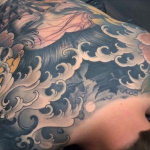 Japanese backpiece in progress:) #tattoodo #inkjecta #wearesorrymom #killerinktattoo #geisha #fingerwaves #peony #irezumi #backpiece #japanese