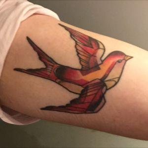 Mathieu Hould, Montrealtattoo, 2016 #swallow #swallowtattoo #classictattoos #geometrictattoo #watercolor
