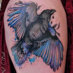 #KelTait #keltaittattoo @kel.tait.tattoo #raven #blueraven #black #watercolor #bird #wings
