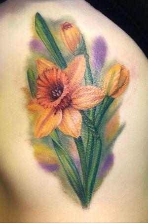 Daffodil flower #tattoooftheday #flower #daffodil