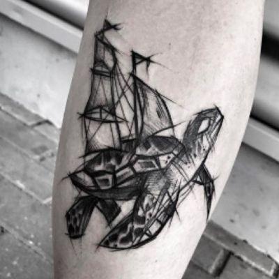 #turtle #tortoise #sails #black #sketch by #ineepine @ineepine