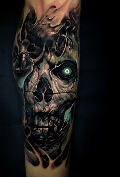 #skull #skulltattoo #scifi #horror #evil #tattoo #vainiusanomaly #realism #realistic #realistictattoo #color #colortattoo