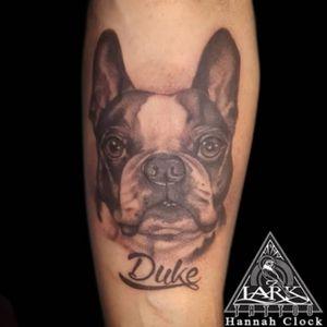 Tattoo by Lark Tattoo artist Hannah Clock. #dog #dogtattoo #bng #bngtattoo #animaltattoo #frenchbulldog #frenchbulldogtattoo #tattoo #tattoos #tat #tats #tatts #tatted #tattedup #tattoist #tattooed #tattoooftheday #inked #inkedup #ink #tattoooftheday #amazingink #bodyart #tattooig #tattoosofinstagram #instatats  #larktattoo #larktattoos