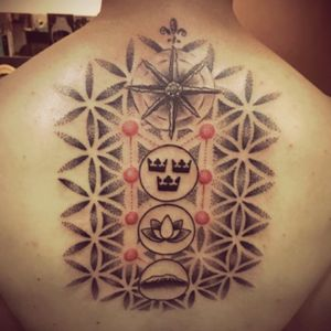 Work in progress of my 7 continents tattoo. Each circle represents a continent. Made at @skindeepbangalore. #lotus #geometric #dotwork #windrose #crowns #lotus #kilimandjaro
