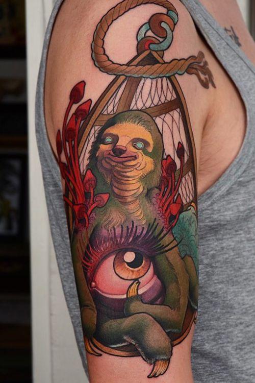 Enlightened sloth #sloth #mushrooms #tattoodoambassador #tattoo