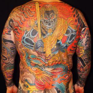 Fudo and Dragon #fudo #FudoMyoo #fudomyo #dragon #japanesetattoo #backpiece #flyritetattoo #stevenhuie