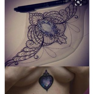 I like the top overall design but with the bottom heart shaped gem for my sternum. #meagandreamtattoo #meagandreamtattoo