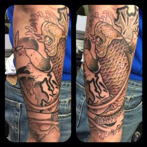 Done by me #tattoo #koi #japanese #asian #oriental #water #dragon