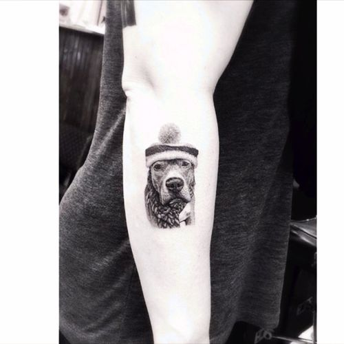 Monday chill! 👌Awesome dog tattoo by drwoo #dogtattoo #dog #chill #blackwork #detail  #drwoo