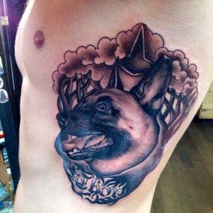 My first @tattoodo custom tattoo of my dog Thor! Done by #TommyMontoya at #WoosterStSocialClub aka #NYInk! #portrait #dog 🌳🐶🌳